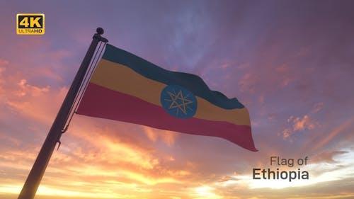 Ethiopia Flag on a Flagpole V3 - 4K