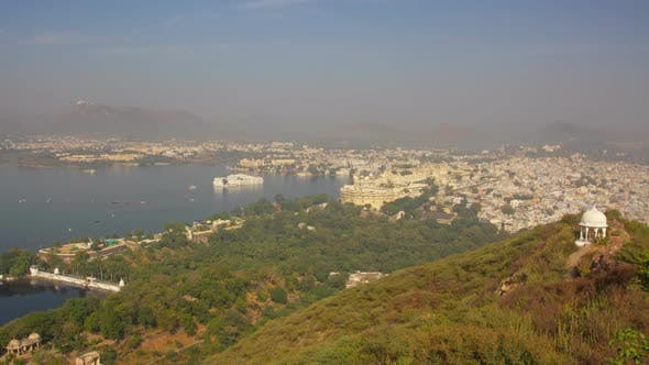 Thumbnail for Landscape with Lake and Palaces in Udaipur