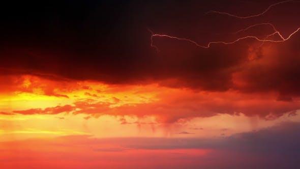 Thumbnail for Thunderstorm at Orange Sunset