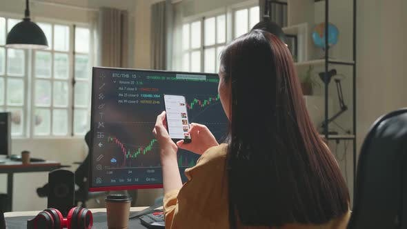 Woman Trader With Financial Stock Market Charts On Desktop Computer And Order Food On Mobile