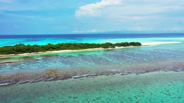 Cover Image for Tropical drone island view of a sandy white paradise beach and blue ocean background in hi res