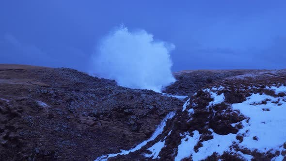 Thumbnail for Iceland View Of Waterfall And Large Cave Blow Hole Erupting Ocean Water High In Arnarstapi 1