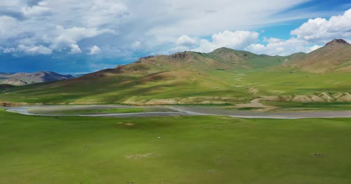 Aerial Mountains Landscape in Orkhon Valley
