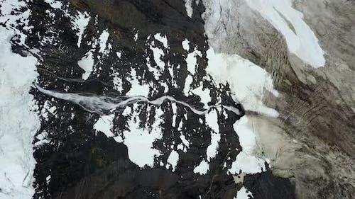 Aerial view of glacier waterfall in Cisnes, Region de Aysen, Chile.