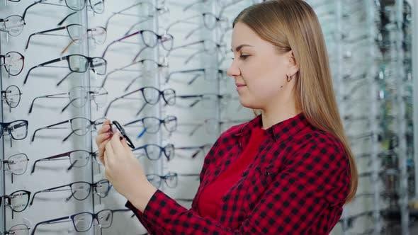 Female customer in the optical store