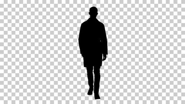 Silhouette Walking male doctor, Alpha Channel