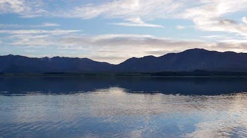 Panning shot Lake Tekapo in early morning with mallard ducks