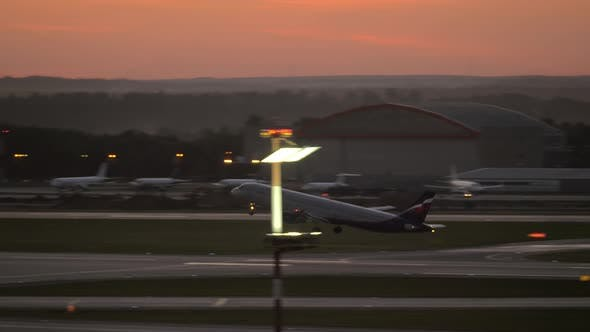 Thumbnail for Evening Departure of Aeroflot Airplane From Sheremetyevo Airport, Moscow