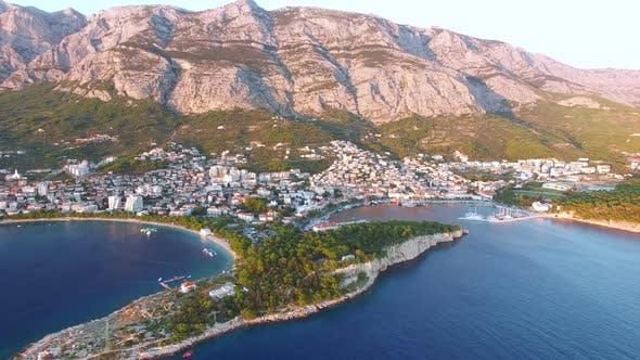 Thumbnail for Aerial view of sunset at Makarska bay in Dalmatia
