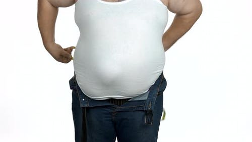 Fat Belly of Caucasian Man on White Background