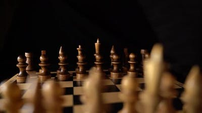 Closeup of Chess on a Black Background