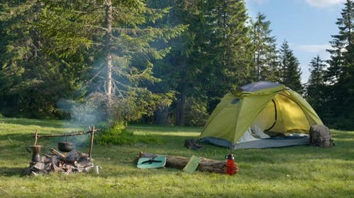 Camping in a Clearing in the Forest