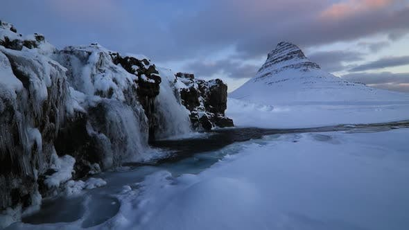 Thumbnail for Kirkjufell Mountain with Waterfalls at Winter Sunrise, Iceland.