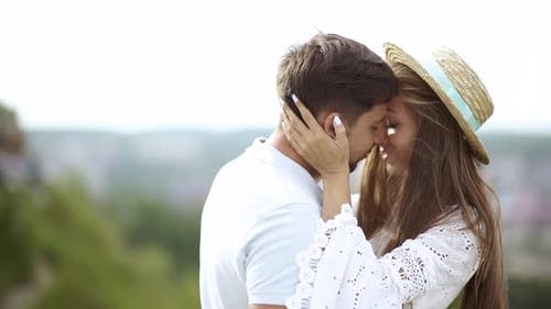 Romantic Couple. Man And Woman Kissing In Nature.