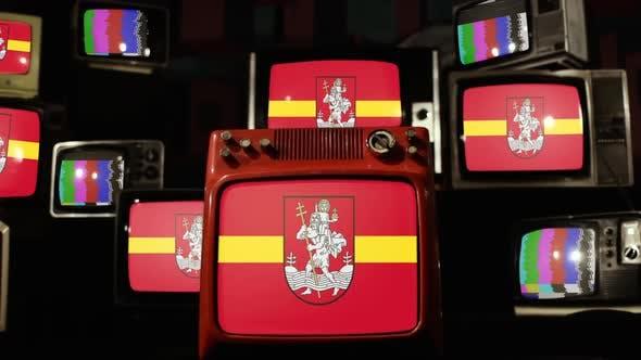 Flag of Vilnius, the capital of Lithuania, on Retro TVs.
