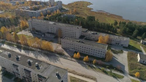 Aerial view of a hospital in provincial Russian city with low buildings 46
