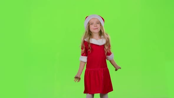 Thumbnail for Child in Red New Year Costume Is Dancing. Green Screen
