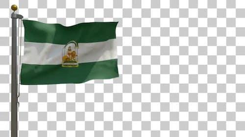 Andalusische Flagge auf Fahnenmast mit Alphakanal - 4K