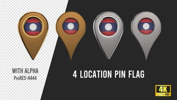 Laos Flag Location Pins Silver And Gold