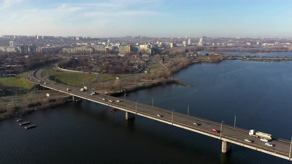 Thumbnail for Aerial View of the Right Bank of the Dnipro City From the South Bridge