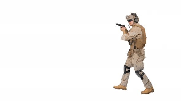 Thumbnail for Soldier Walking Aiming with a Pistol and Shooting To Camera on White Background.