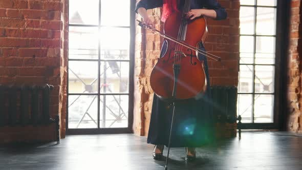 Thumbnail for A Woman Standing in the Room and Playing the Cello