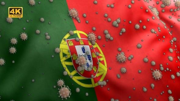 Thumbnail for Covid Portugal Flag / Corona Portugal Flag - 4K