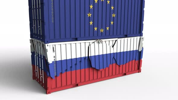 Thumbnail for Container with Flag of the EU Breaks Container with Flag of Russia
