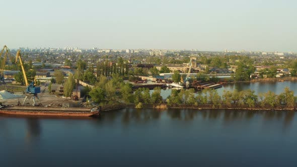Thumbnail for Port Cranes On A River Bank 5