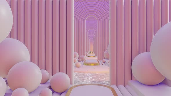 Thumbnail for Abstract Scene Pastel Color With Geometry Tunnel 02 4K