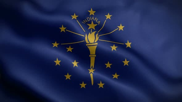 Indiana State Flag Blowing In Wind