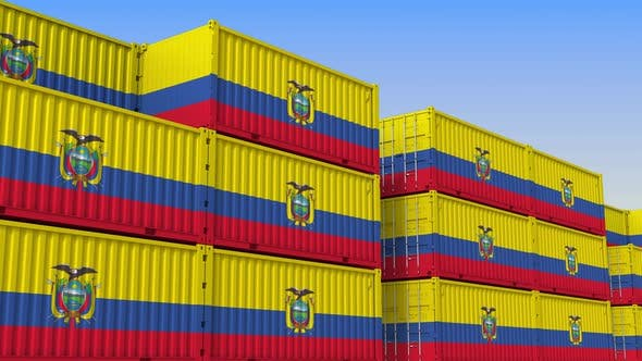 Thumbnail for Container Yard Full of Containers with Flag of Ecuador