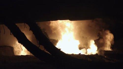 Fire In A Metallurgical Furnace