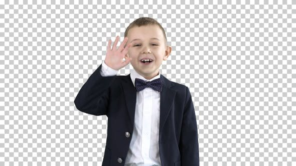 Thumbnail for Friendly Little Boy in A Suit Says Hi, Alpha Channel