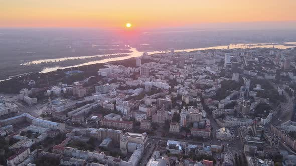 Thumbnail for Ukraine, Kyiv : City Center in the Morning at Sunrise. Aerial View. Kiev.