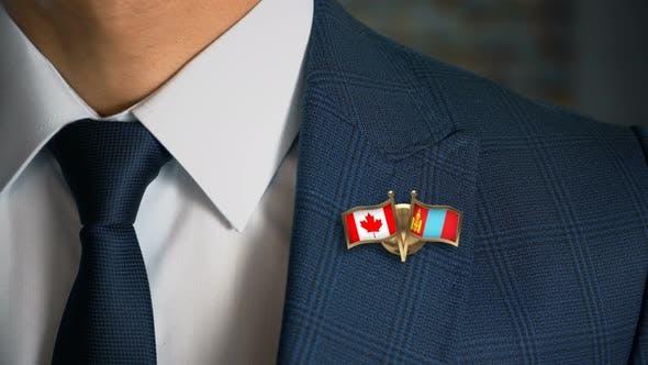 Businessman Friend Flags Pin Canada Mongolia
