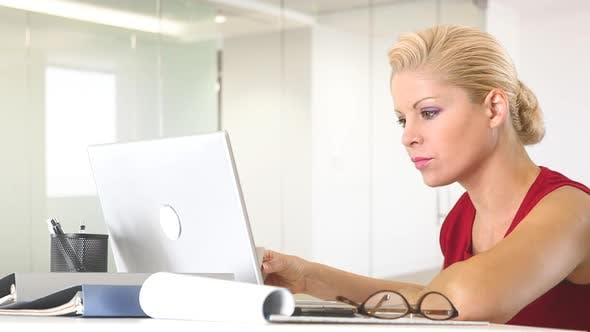 Thumbnail for Businesswoman working with laptop at desk
