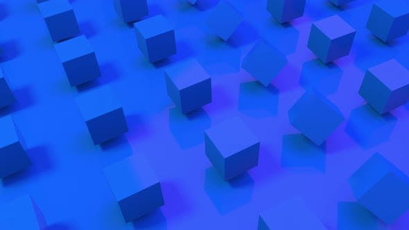 Seamless loop of 3D blue cubes rotating on a royal blue background.