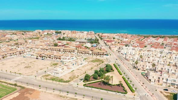 Thumbnail for Aerial View. A Small Town on the Shores of Mediterranean