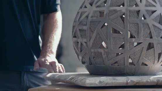 Crop Artisan Creating Ornamental Vase