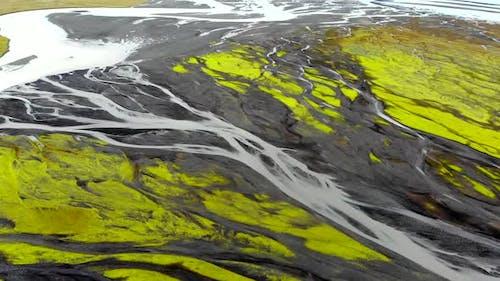 Aerial View of Glacier River Delta in Iceland