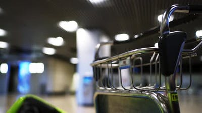 Empty Airport Luggage Cart