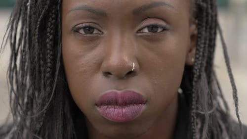 sensual gaze of young black african woman.Beauty,sensuality-slow motion