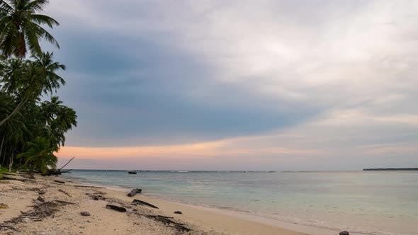 Thumbnail for Time lapse: sunset over tropical beach and sea colorful dramatic sky
