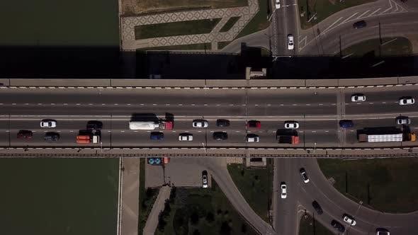 Thumbnail for Drone's Eye View -  Freeway Traffic Jam City Rush Hour.