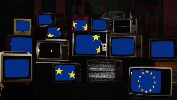 Thumbnail for Brexit Concept, EU And Great Britain Flags, on Vintage Televisions.
