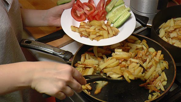 Thumbnail for French Fries Put in Dish with Vegetables 816