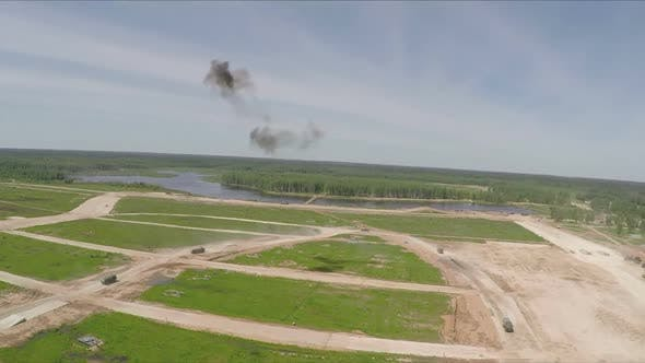 Military Trucks Driving During Playwar, Aerial View