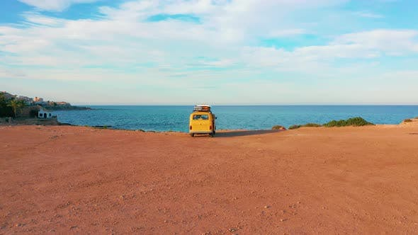 Thumbnail for Aerial View. Caravan Near the Sea. Family Vacation Travel, Holiday Trip in Motorhome, Caravan Car