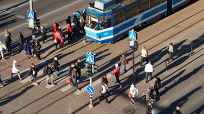 Crowd Of People On Zebra Crossing In Tallin